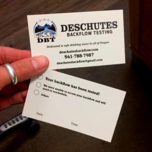 deschutes backflow testing business card